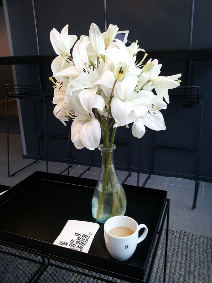 This photo is taken from our Helsinki Office. Coffee & flowers, definitely a good start!